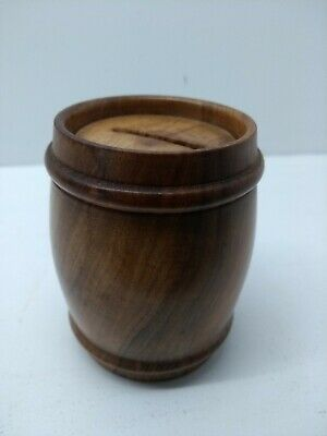 Antique turned wooden string pot with screw top lid
