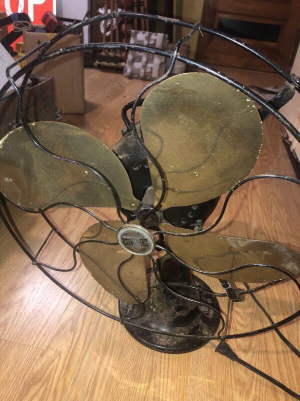 Emerson Electric 16 Inch 4 Brass Blade Fan. No 27648 Please Read