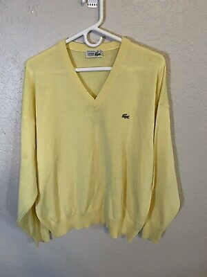 Mens Vintage Lacoste Alligator Acrylic Yellow V Neck Sweater Size 6 L A2