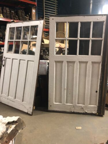 """2 vintage c1900 carriage house barn style doors w track 84/48"""" old glass 9/13"""""""