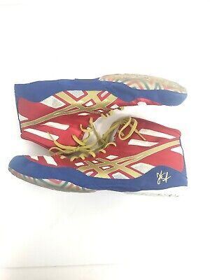ASICS J3A1Y Wrestling Boot Red Blue Gold Size 12 Men's Shoes EUC