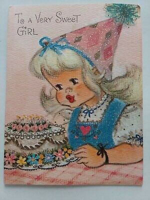 1950s Hats: Pillbox, Fascinator, Wedding, Sun Hats 1950s Vtg To Very Sweet GIRL w GLITTER DRESS Birthday Hat & CAKE Greeting CARD $4.00 AT vintagedancer.com