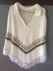 Angora Poncho with Collar Cream and Brown with fringe size M Palm Beach Gold Coast South Preview