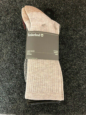 Timberland Men's 4 Pack Outdoor Leisure Crew Cushioned Stretch & Support Socks