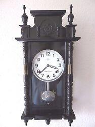Vintage HIBINO Regulator Wall Clock Day Ding Dong Pendulum Rare Old Wood W/ Key