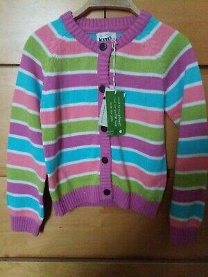Girls kite eco friendly organic cotton striped cardigan 6 years 116cm bnwt new