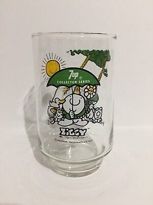 VINTAGE ZIGGY HERE'S TO GOOD FRIENDS GREEN 7 UP SERIES COLLECTORS GLASS CUP MUG