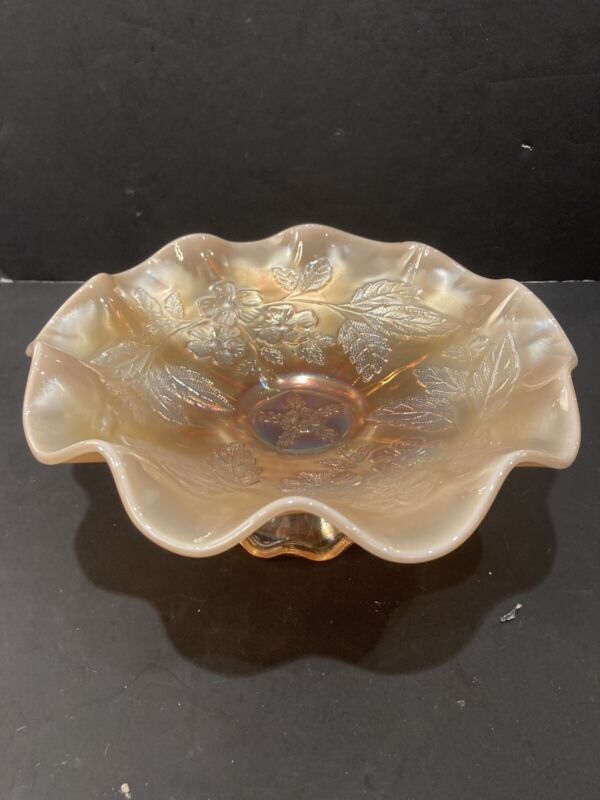 "DUGAN DOGWOOD PEACH OPALESCENT CARNIVAL GLASS RUFFLED FOOTED 8 7/8"" BOWL WOW!"