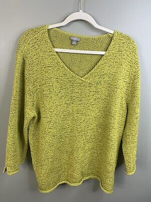 J JILL CHARTREUSE SWEATER SCOOP NECK LONG SLEEVE XL Honeycomb Knit Rolled Hem Honeycomb Scoop Neck