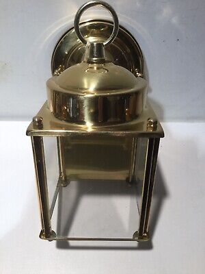 Exterior Wall Lantern Polished Solid Brass Clear Glass Panels Single -
