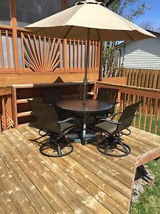 Patio set and loungers