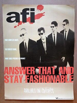"AFI promo poster for ""Answer That and Stay Fashionable"" 1995 RARE"