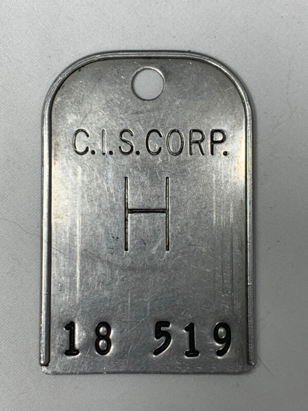 Vintage C.I.S. Corp ID / Badge / Hang Tag / Identification Tool Equipment Marker