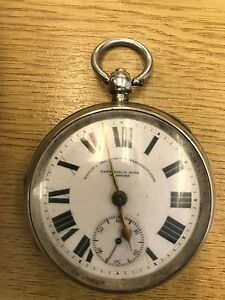Antique Solid Silver Sterling Pocket Watch By Fattorini & Sons