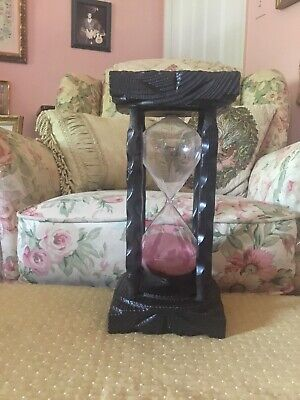 Vintage Solid Wood Hour Glass. One Foot Tall. Very Nice!