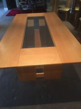 10 seater modern wood dining table, with glass inset, custom desi Caulfield Glen Eira Area Preview