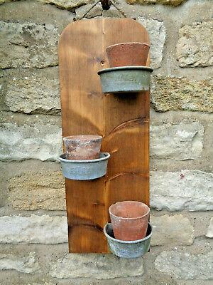 Original Handmade .Rustic Vintage Planter- Pine Boards, Terracotta Pots+ Holders