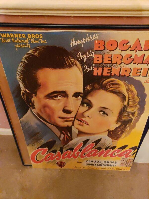 Vintage  CASABLANCA Belgian Humphrey Bogart Ingrid Bergman Warner Bros.25X33