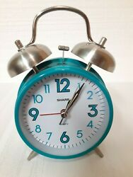 Sharp Quartz Mechanical Double Bell Loud Alarm Clock Model SPC851 Teal