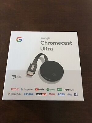 Google Chromecast Ultra 4K HDR Capable, Black, Brand New Sealed
