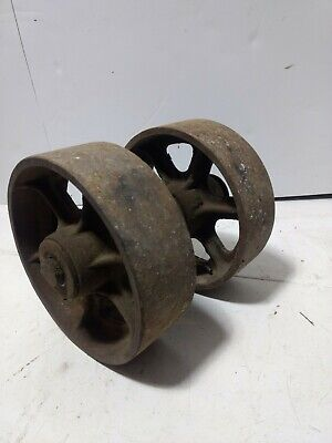 Vintage Cast Iron Cart Wheels 8 Steampunk Industrial Lot 2 Axle Bearings Grease