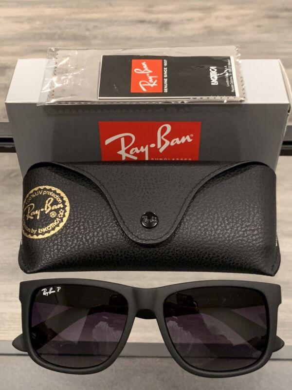 New Ray-Ban Rb4165 622/T3 Justin Wayfarer Polarized Black/Grey Gradient 54MM