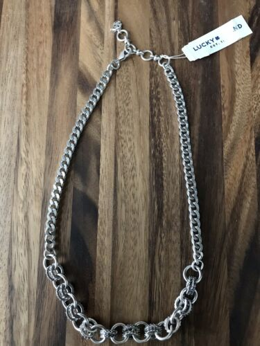 NWT Lucky Brand ~ Pave Chain Link Collar Necklace ~ Silver T