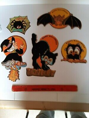 5 Old Vintage Halloween Cardstock Felt Die Cut Out Diecut Decorations Cat Owl