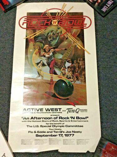 VINTAGE 1977 ROCK N BOWL TEN Q RADIO / FLO & EDDIE POSTER