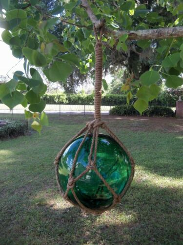 "REPRODUCTION GREEN GLASS FLOAT FISHING BALL FLOAT BUOY 12"" In Rope Net"