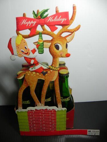 Squirt Soda 1961 Carton Die Cut Litho Sign Christmas Little Sqirt Boy Reindeer