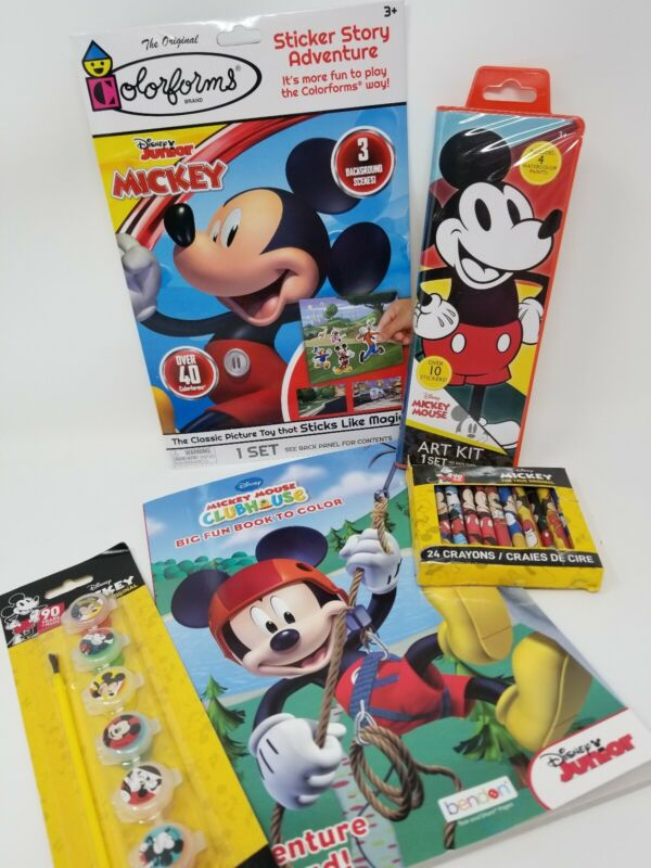 Disney Mickey Mouse Paint Sets, Coloring Book, Colorforms Set & Crayons