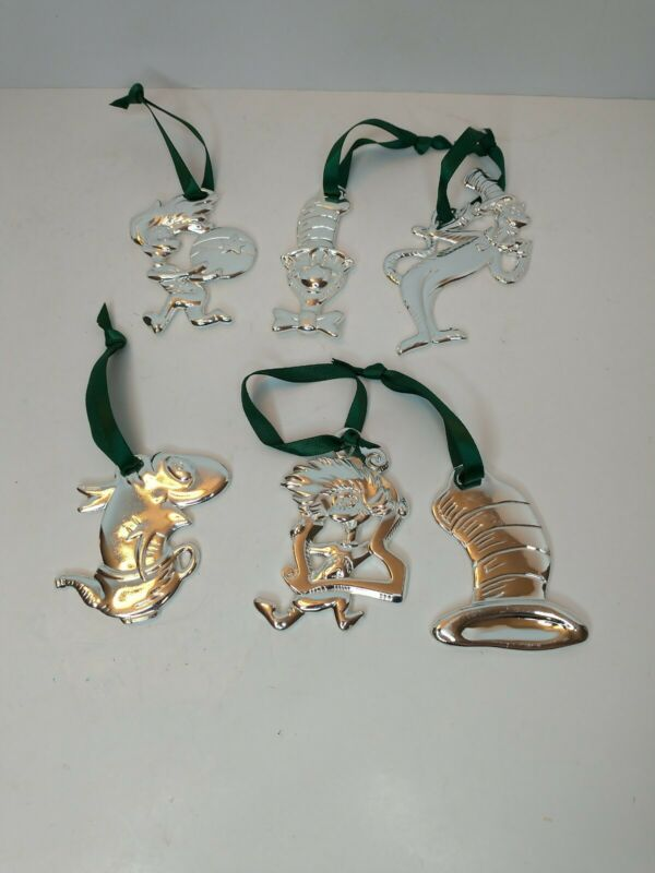 Dr Seuss The Cat in the Hat Silver Plated Christmas Ornaments Lot of 6