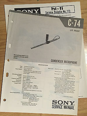 Original Sony Service Manual for the C-74 Microphone