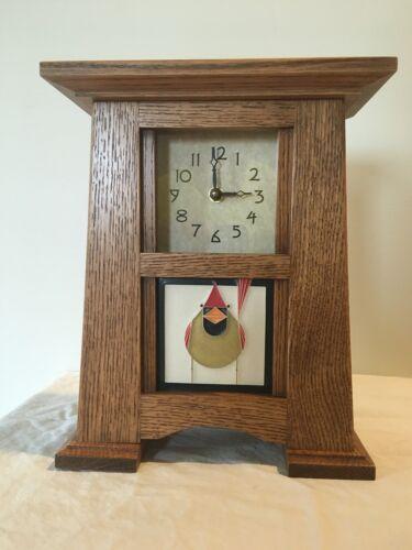 Arts & Crafts Mantel Clock, Motawi Tile, Oak Mission Style,
