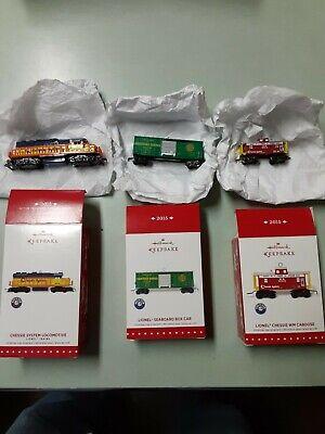 Hallmark 2015 Keepsake Lionel Train Ornament Set! Engine, Boxcar, and Caboose
