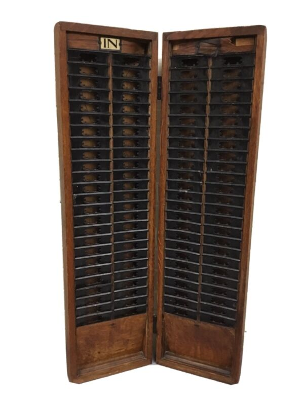 ANTIQUE VTG WOOD TIME CARD CABINET HANGABLE CLOSES RARE BEAUTIFUL PIECE IN OUT
