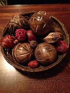 Decorative Basket and Wooden Balls