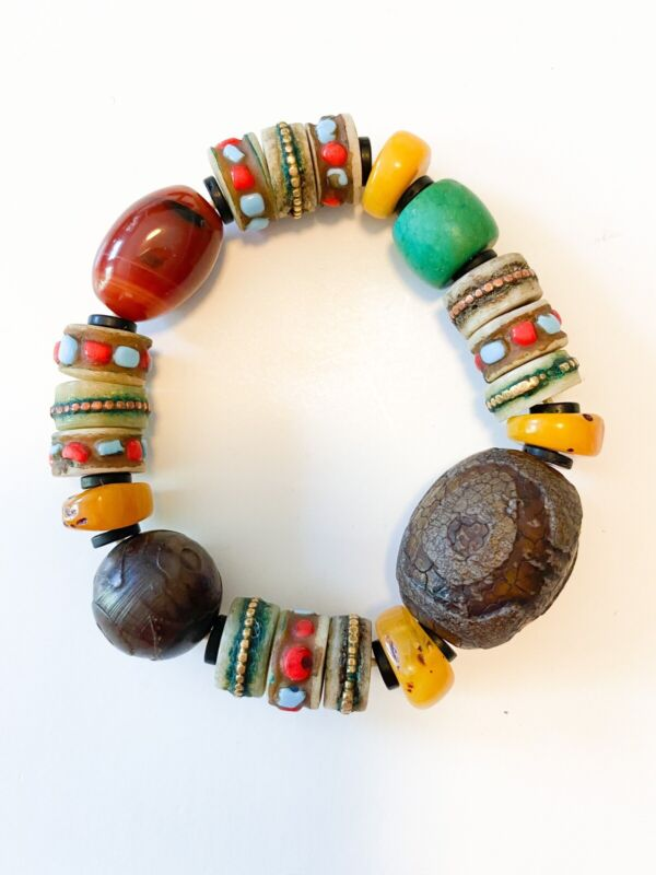 African Trade Amber Beads Vintage Bracelet Green Yellow Stones
