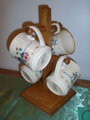 CHINA INTERNATIONAL HEARTLAND FARM WOOD 4 COFFEE CUPS HOLDER MUG RACK TREE STAND
