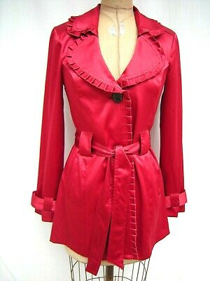 BCX Single Breasted Modified Belted Short Light Weight Trench Coat Red Small Pleats Single Light