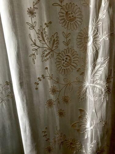 Two Panels of Wht Cotton Curtains Chain Stitch Embroidery Butterflies & Flowers