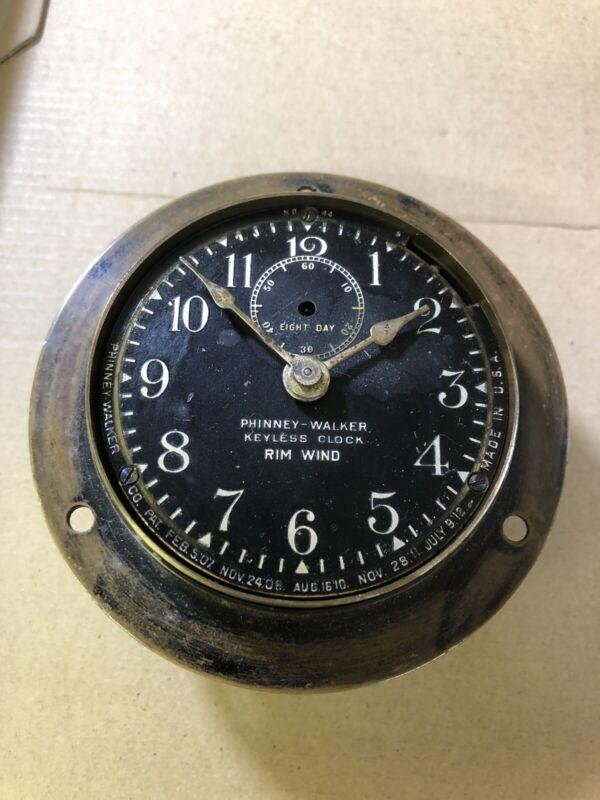 VINTAGE PHINNEY-WALKER KEYLESS  RIM WIND RIM SET AUTOMOBILE  Boat Yacht Clock