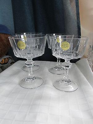 "NEW FOUR, VINTAGE, LEAD CRYSTAL DESSERT STEMWARE BY ""PRINCESS HOUSE"""