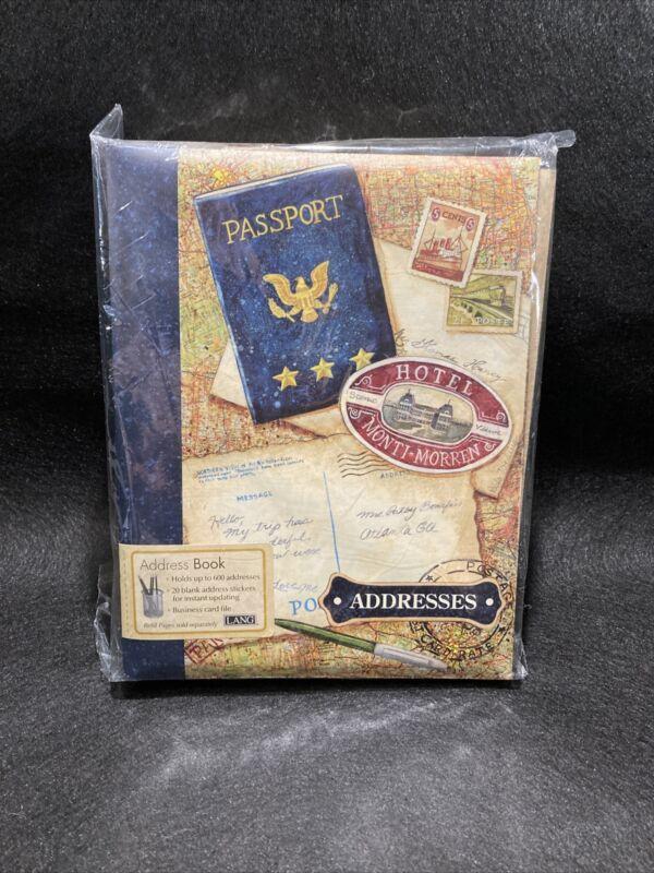 NEW - Lang Address Book World Map Passport Travel Addresses Binder Book Vintage