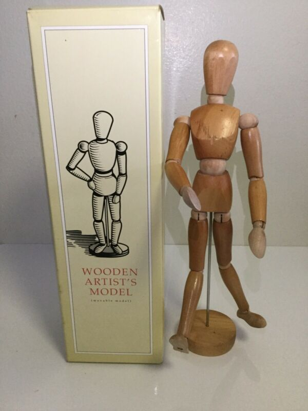True Vintage Wooden 13 inch Tall Articulating Artist Model. Perfect Condition.