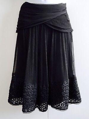 Alessandro Dellacqua Silk Skirt Embroidered Flowers. Size UK 10, US 6, EU 40