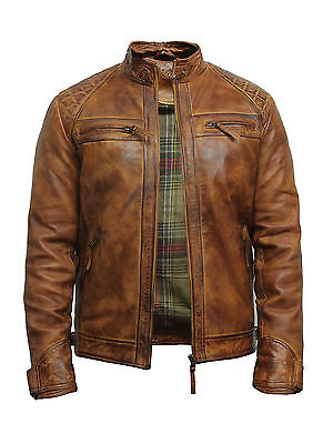 Brandslock Mens Leather Biker Jacket Genuine Lamb Skin Vintage Distressed Retro