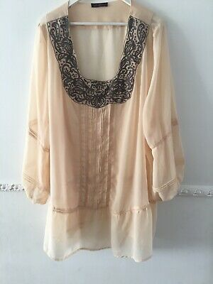 So Fabulous Sheer Peachy Beige Tunic Top Size 30-32 Holiday Kaftan Evening Beach Fabulous Sheer
