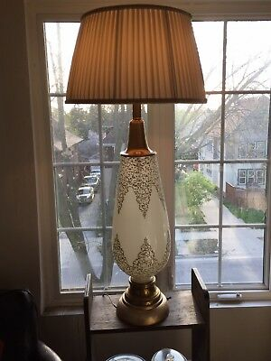 Large Mid Century Italian Art Deco Frosted Glass Table Lamp Applied Decorations